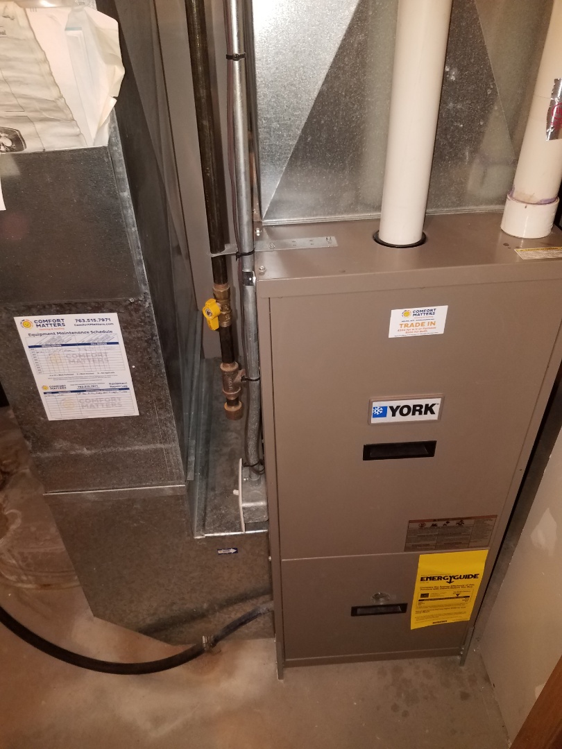 Otsego, MN - Heating maintenance. Performed cleaning and tune up on a York furnace.