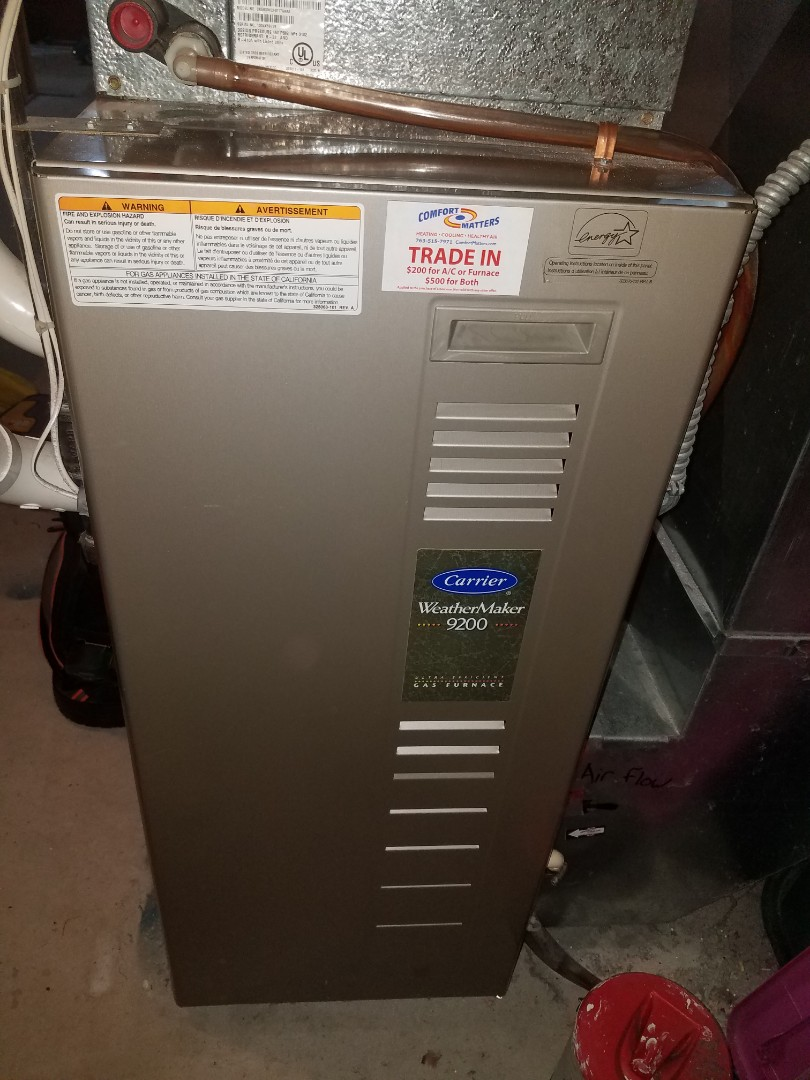 Otsego, MN - Furnace maintenance. Performed tune up and cleaning on a Carrier furnace.
