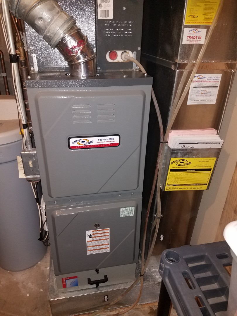 Fridley, MN - Heating maintenance. Performed cleaning and tune up on a Comfort Matters furnace. Performed cleaning and tune up on a Trane humidifier.