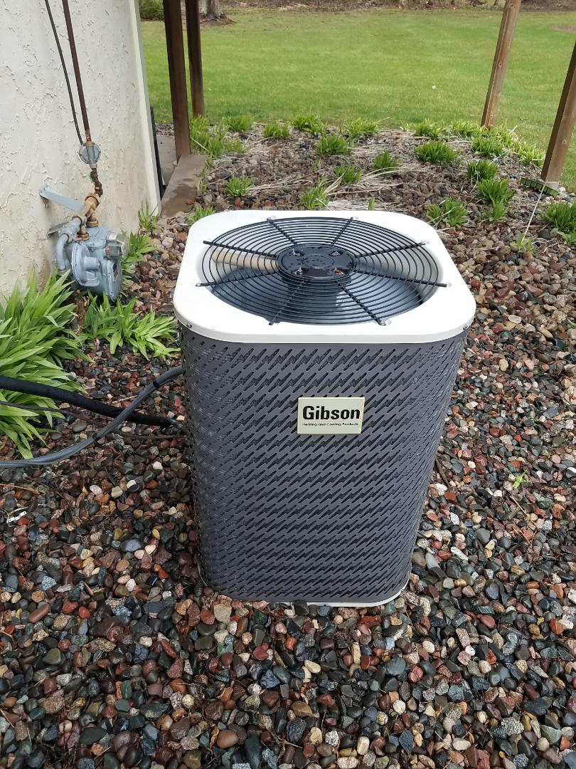 Rockford, MN - Cooling maintenance. Performed cleaning and tune up on a Gibson air conditioner.