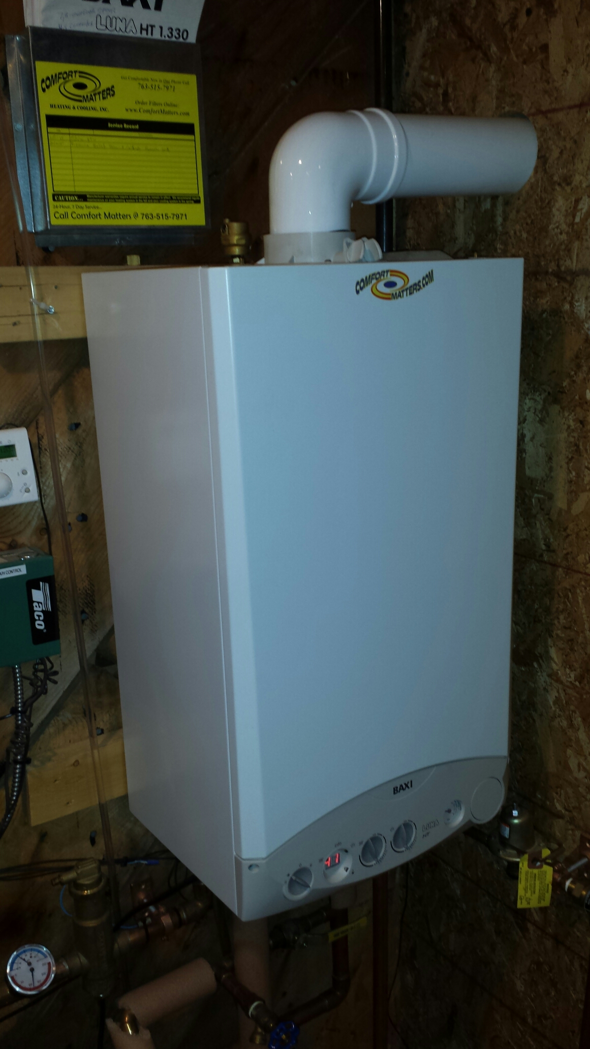 Golden Valley, MN - Boiler service. Replaced a pressure relief valve and calibrated an expansion tank on a Baxi boiler.