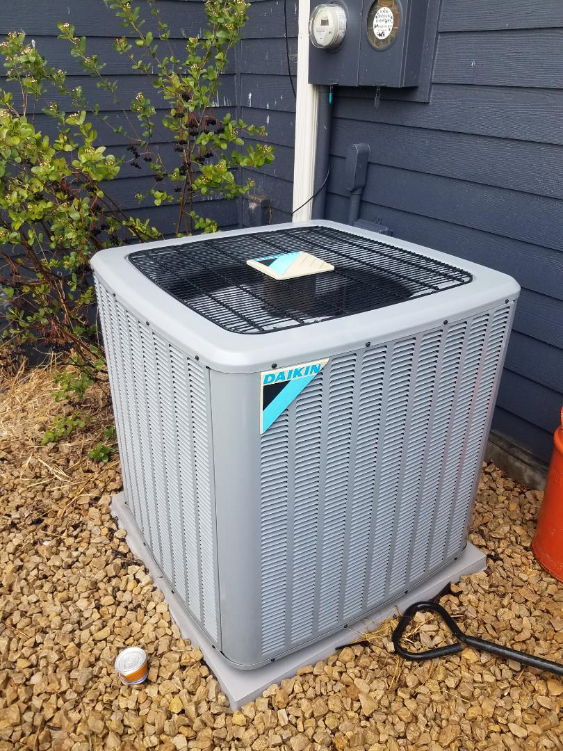 Loretto, MN - AC maintenance. Performed tune up and cleaning on a Daikin AC.
