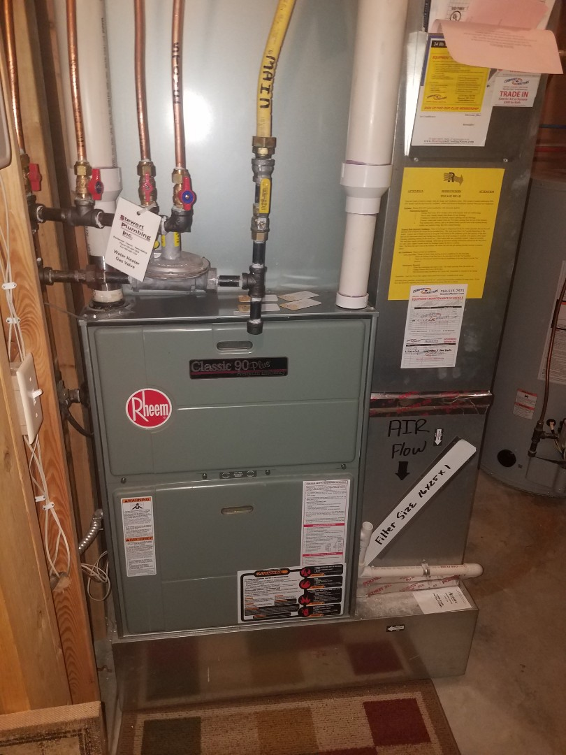 Hanover, MN - Cooling maintenance. Diagnosed a failed blower motor on a Rheem furnace. Replaced motor and tested operation.