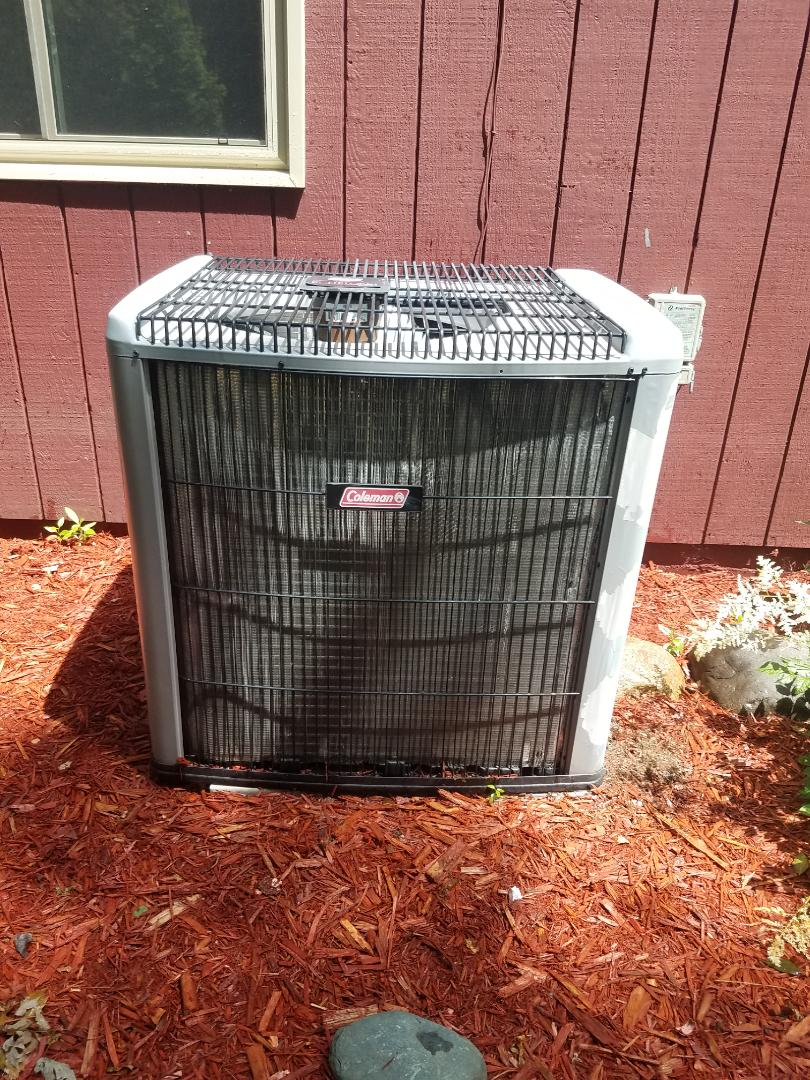 Plymouth, MN - Cooling maintenance. Performed cleaning and tune up on a Coleman air conditioner.