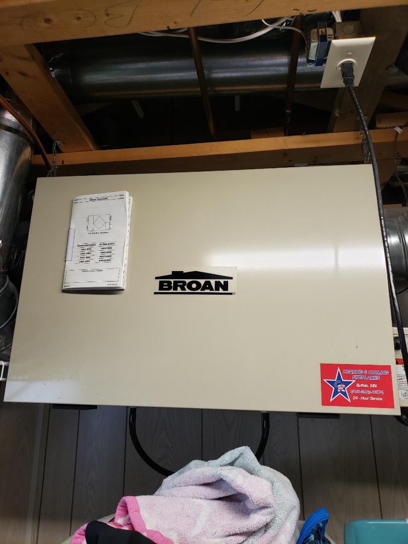 Saint Michael, MN - Air Exchanger maintenance. Please tune up and cleaning on a Broan air exchanger.