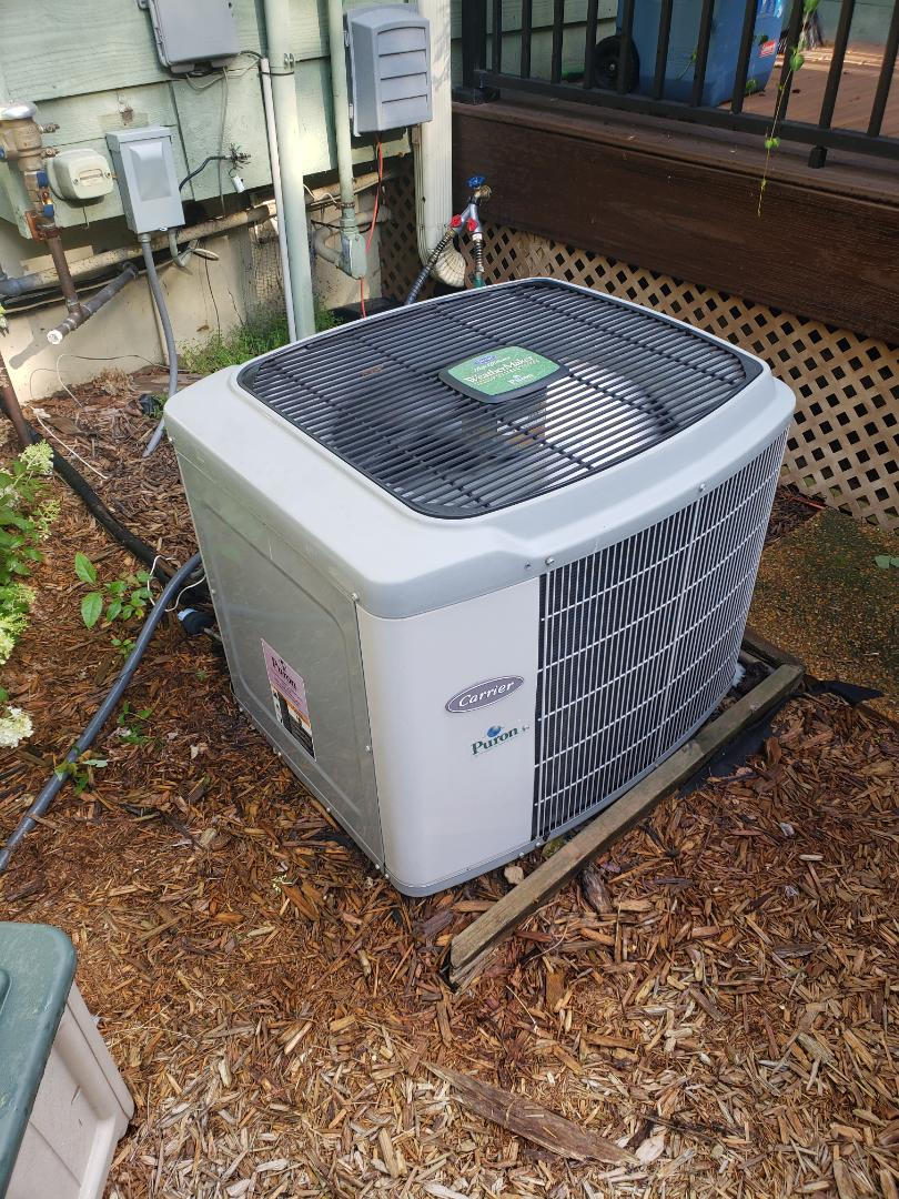 Excelsior, MN - Cooling maintenance. Performed tune up and cleaning on a Carrier AC.