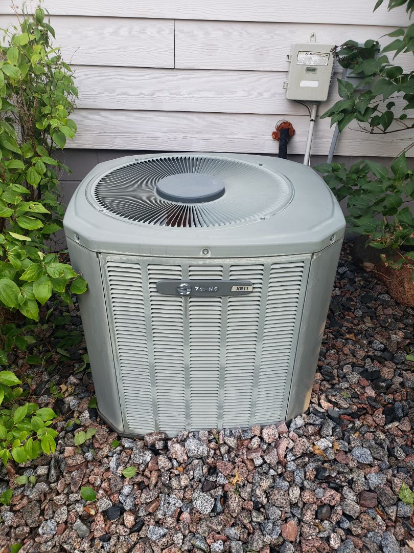 Loretto, MN - AC maintenance. Performed tune up and cleaning on a Trane AC.