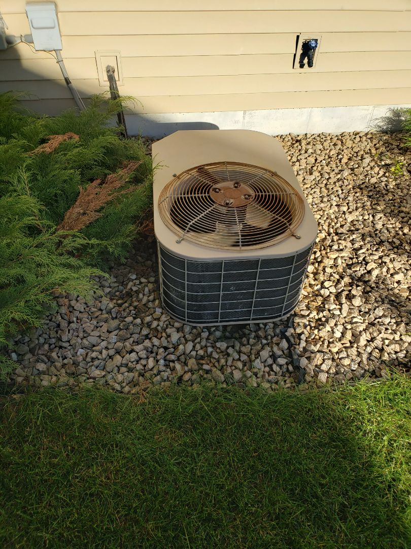 Monticello, MN - Cooling maintenance. Performed cleaning and tune up on a Coleman air conditioner.