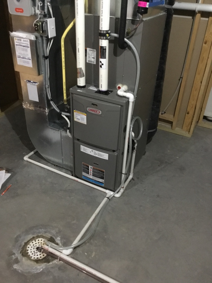 Medina, MN - Furnace tune up. Performed maintenance on Lennox furnace and installed drain kit on flue pipe.