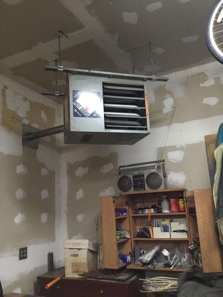 Champlin, MN - Furnace tune up. Performed maintenance on MODINE garage heater.