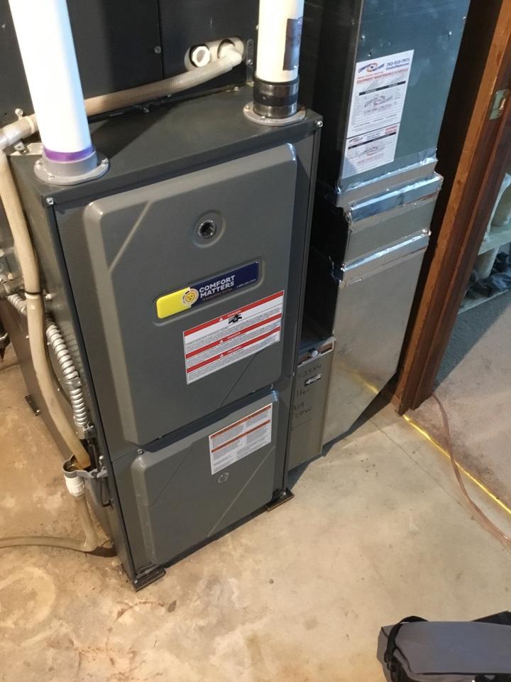 Rockford, MN - Furnace tune up. Performed maintenance on Amana furnace.