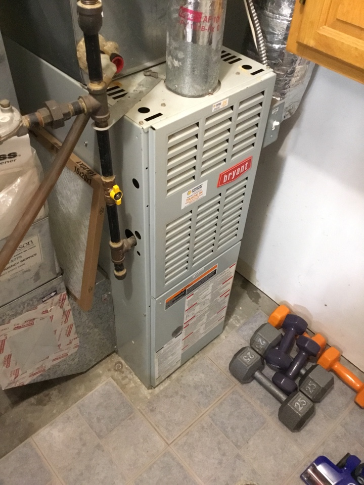 Elk River, MN - Furnace tune up. Performed maintenance on Bryant furnace and replaced blower motor booster.