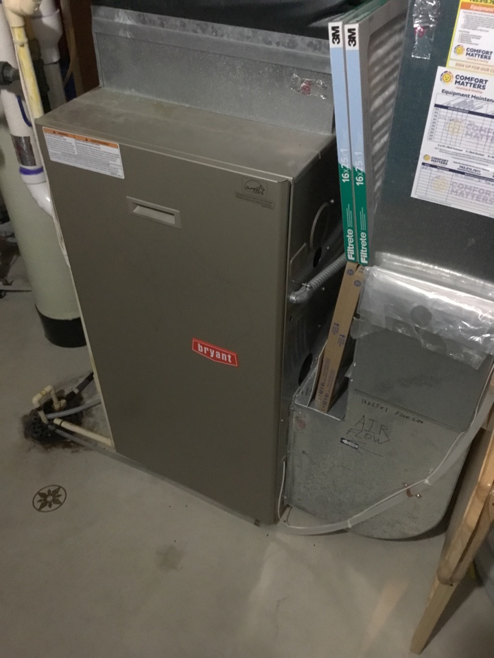 Otsego, MN - Furnace tune up. Performed maintenance on Bryant furnace.