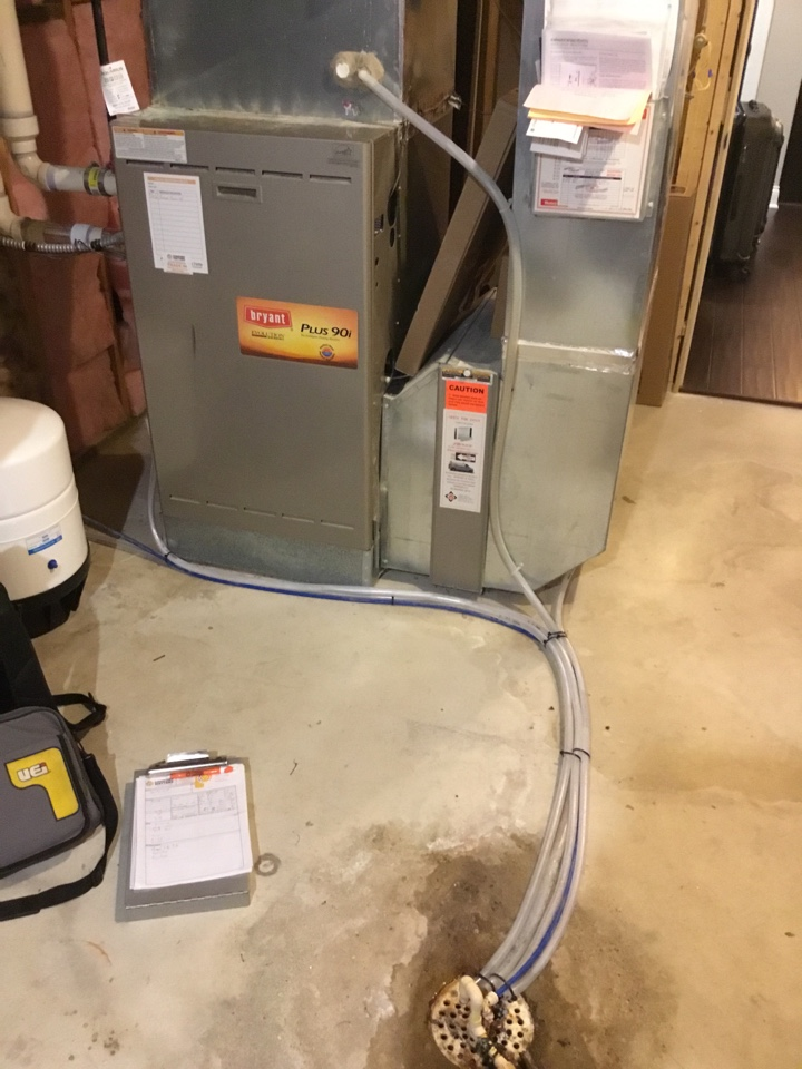 Loretto, MN - Furnace tune up. Performed maintenance on Bryant furnace and ran new drain lines.