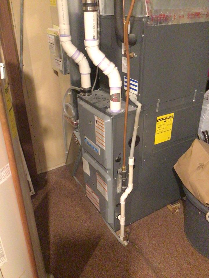 Dayton, MN - Heating maintenance. Tune up on Daikin furnace.