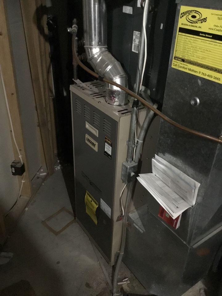 Osseo, MN - Furnace tune up. Performed maintenance on LUXAIRE furnace and replaced flame safety sensor.