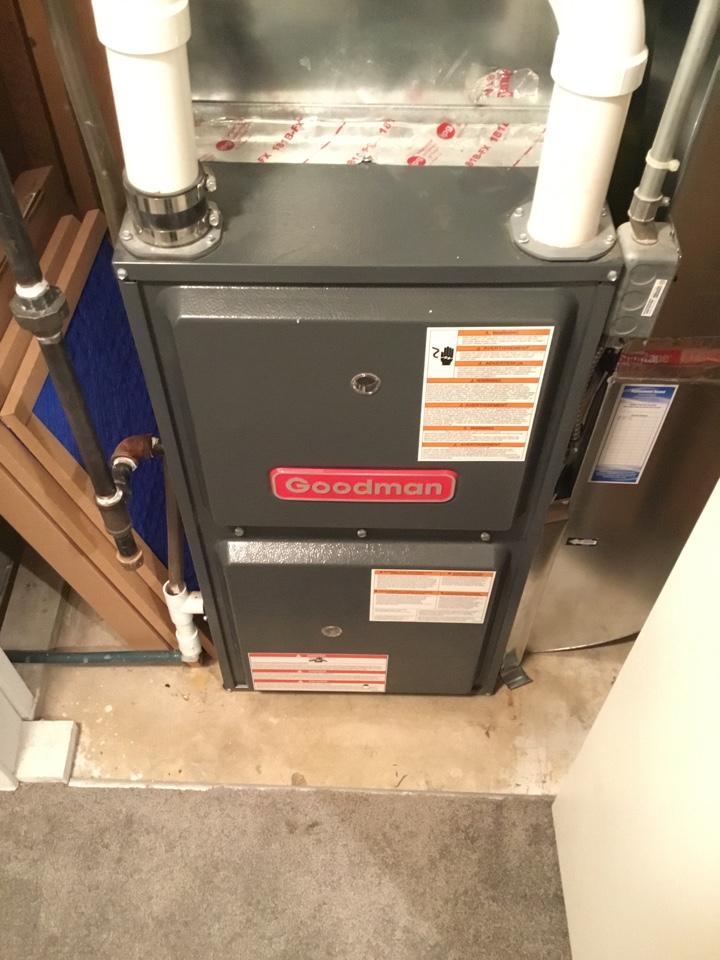 Ramsey, MN - Cleaned evaporator coil on Goodman furnace.