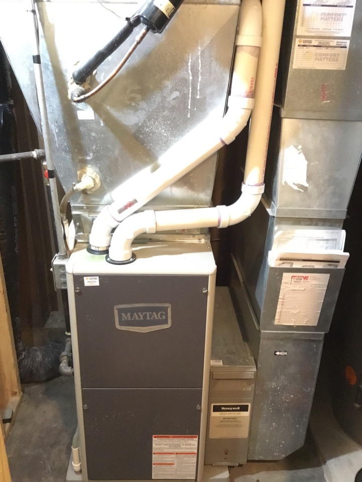 Fridley, MN - Furnace tune up, performed maintenance on Maytag furnace.