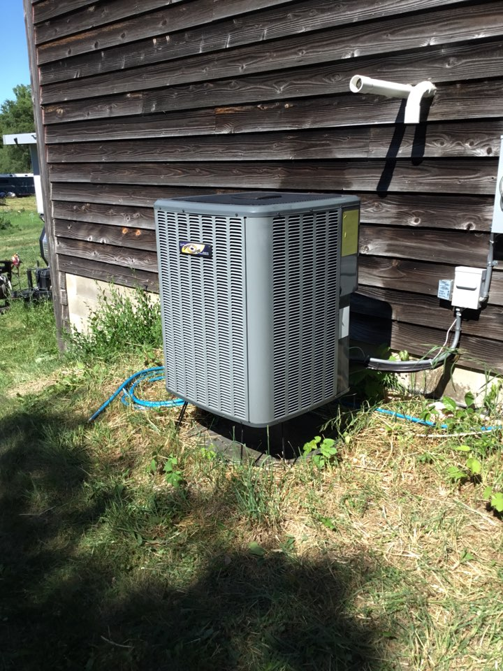 Corcoran, MN - Ac tune up. Performed maintenance on Amana heat pump and installed drain pan treatment.