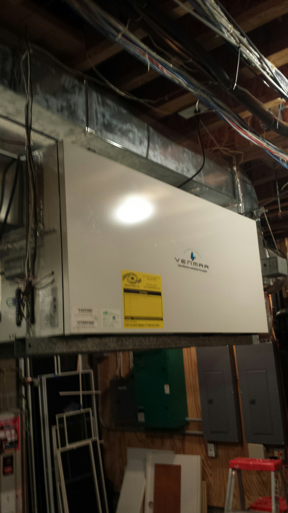 Orono, MN - Air exchanger and dehumidifier maintenance. Performed a filter replacement on a Venmar air exchanger and on a Honeywell dehumidifier.