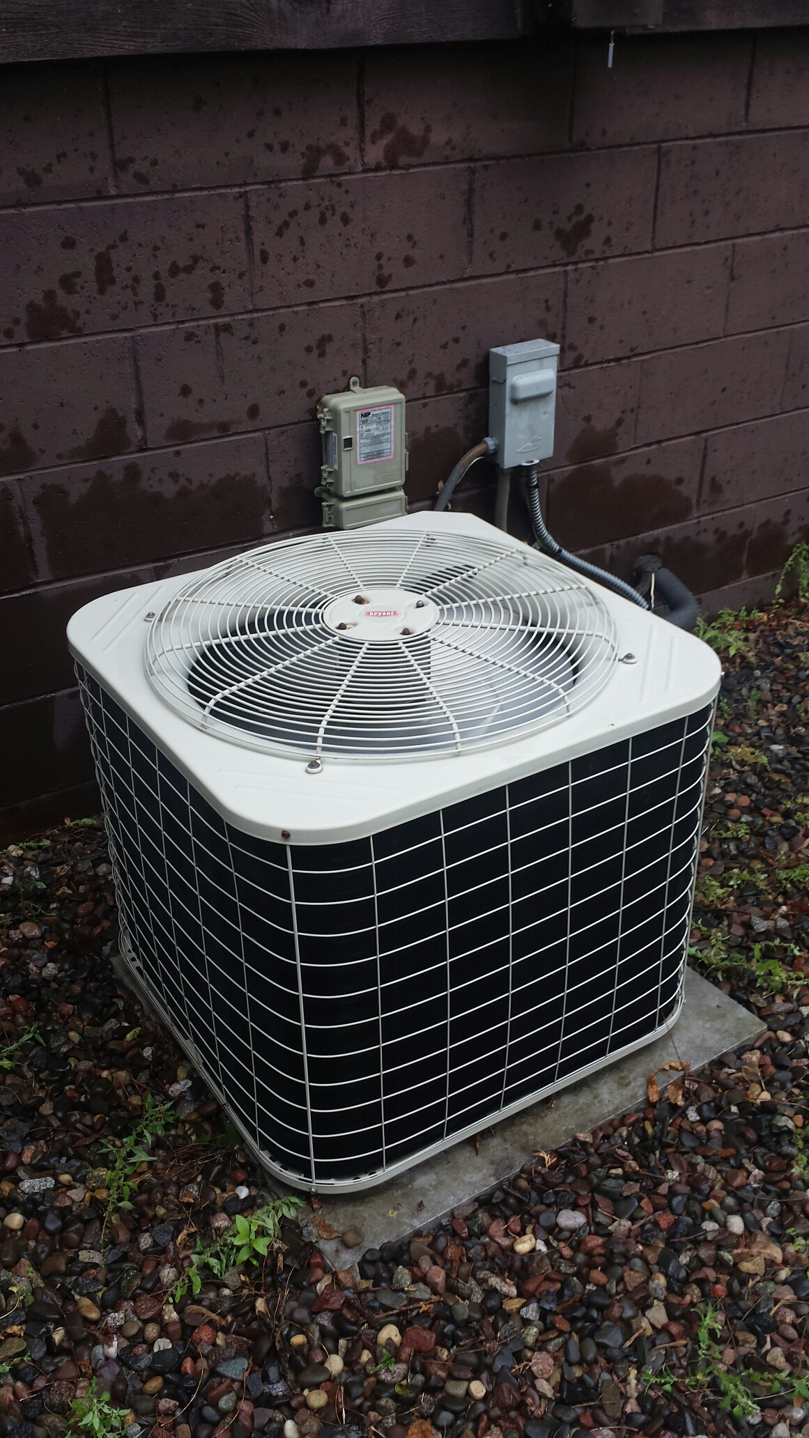 New Hope, MN - Ac service. Replaced a condensate drain line on and performed a cleaning and tune up on a Bryant air conditioner.