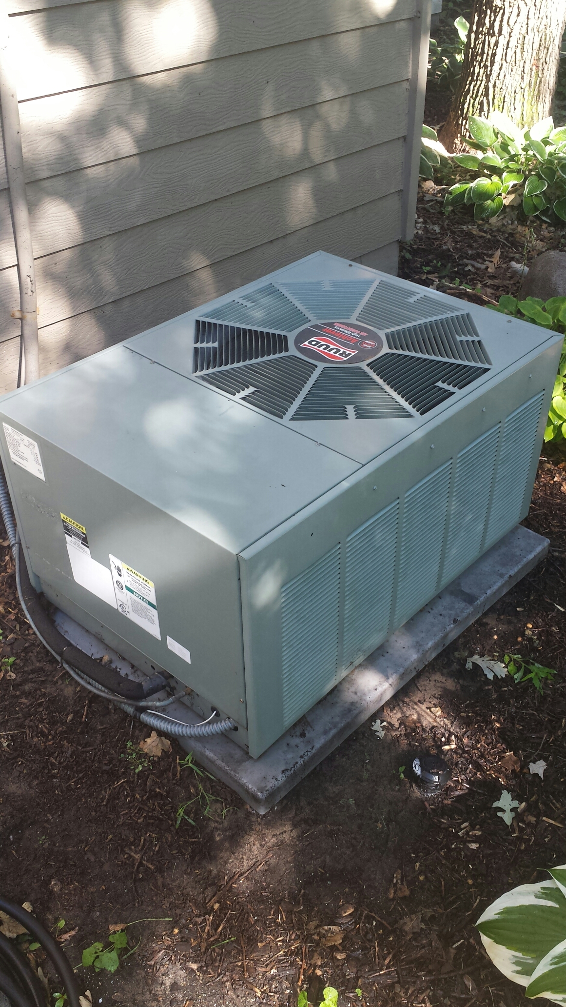 Andover, MN - Ac maintenance. Performed a cleaning and tune up on a Ruud air conditioner. Also installed locking refrigerant caps and an A/C revitalization oil.
