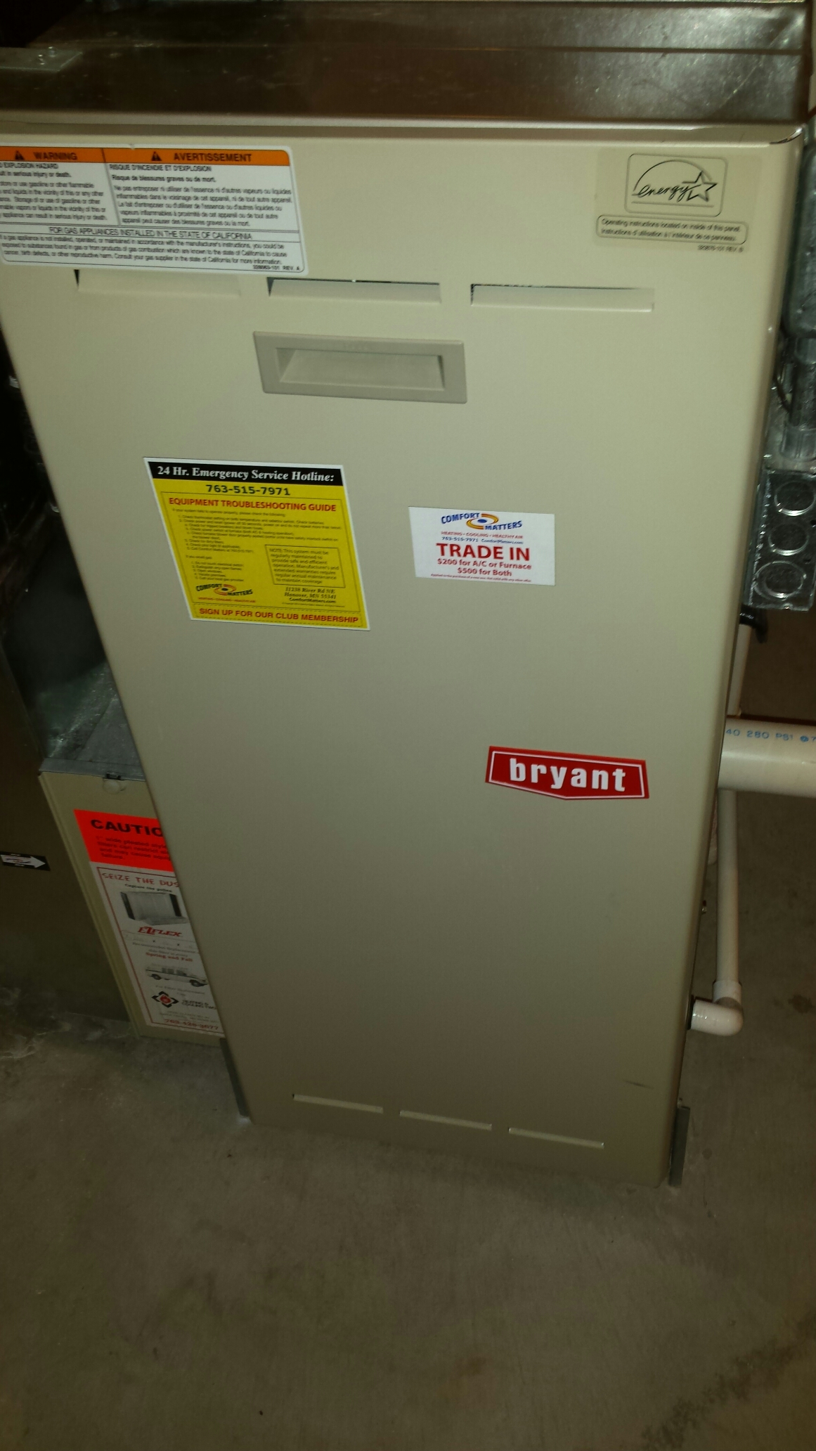 Blaine, MN - Furnace maintenance tune up and cleaning on a Bryant furnace