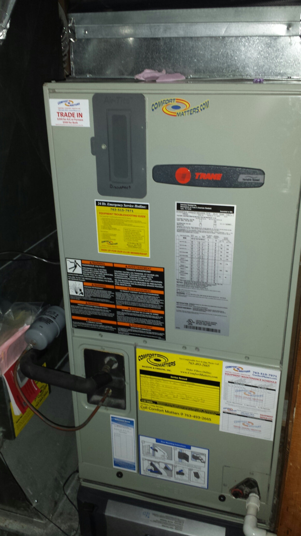 Monticello, MN - Heating maintenance. Performed a tune up on a Trane electric air handler and Trane heat pump, and a Trane humidifier.