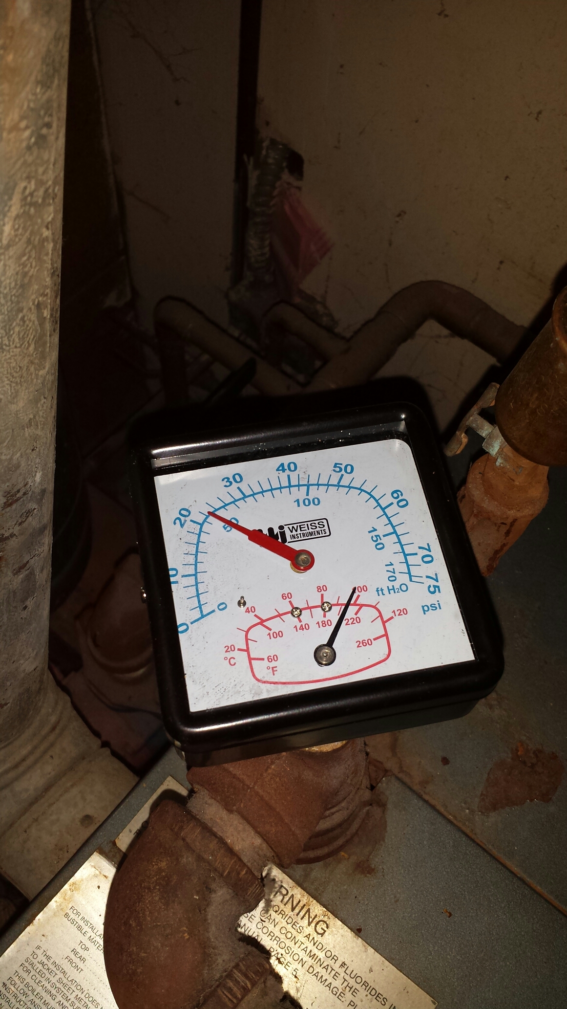 Fridley, MN - Heating service. Replaced a pressure and temperature gauge on a Weil-McLain boiler.