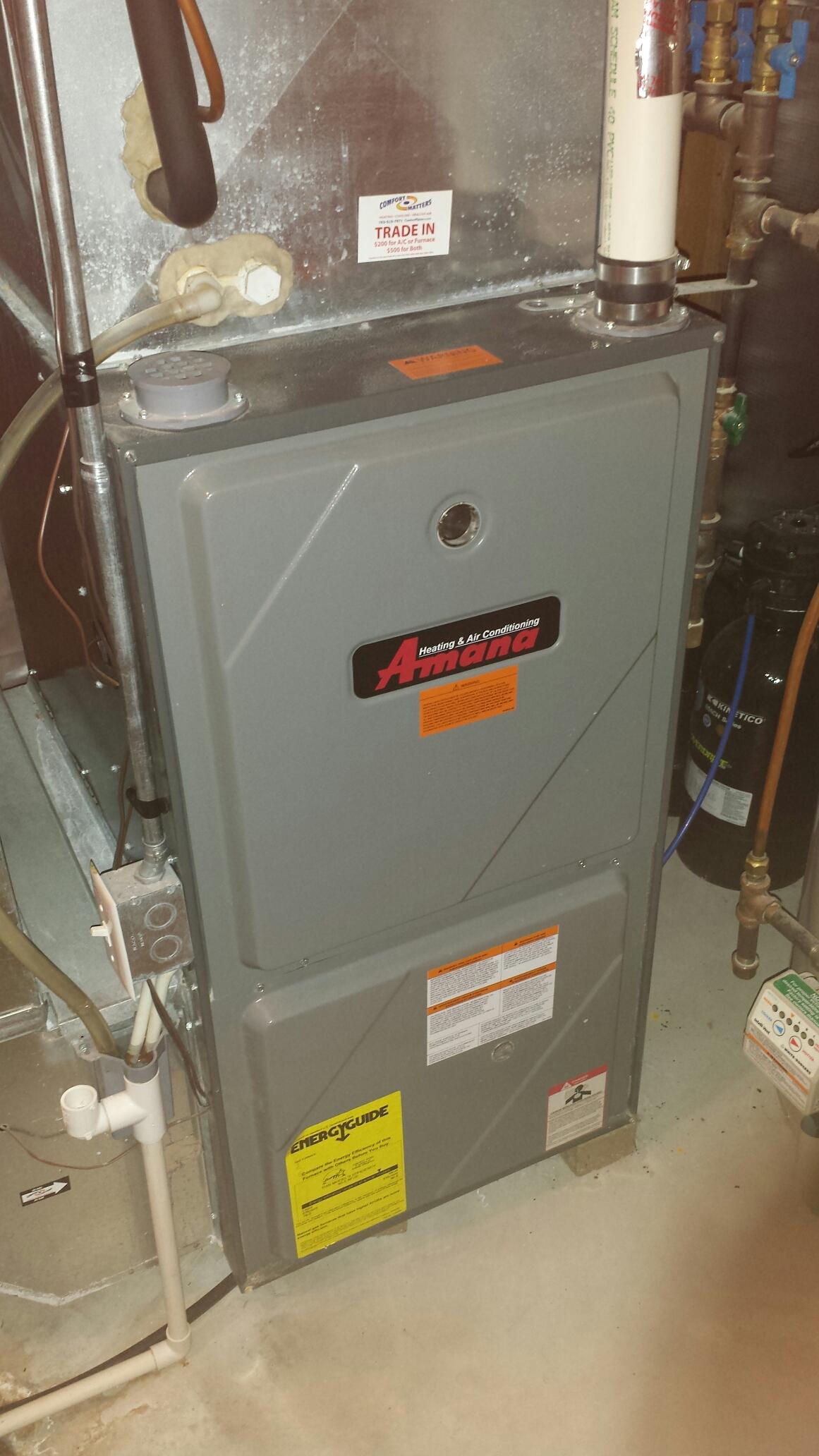 Watertown, MN - Heatimg service. Replaced an exhaust motor on an Amana furnace.