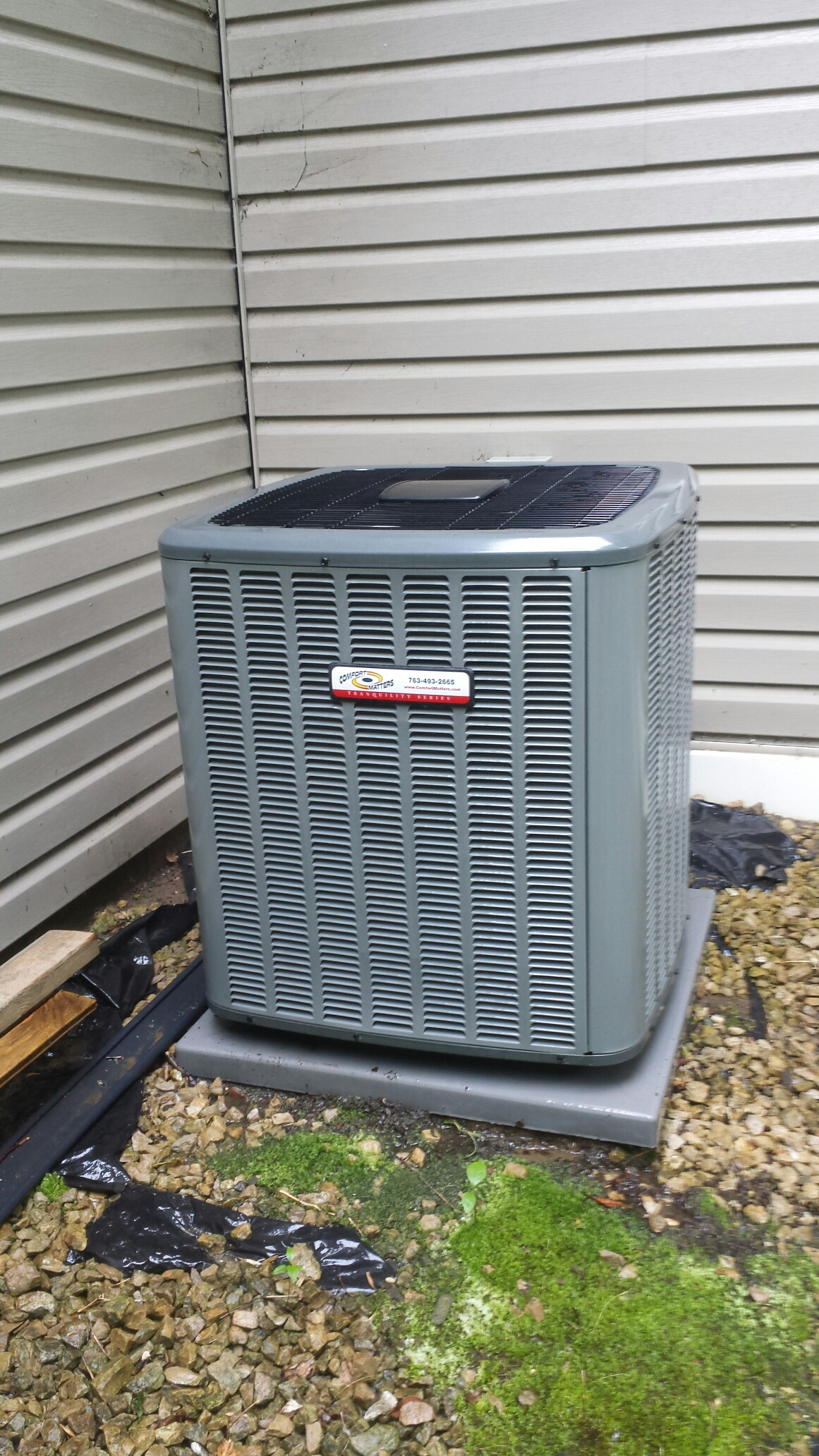Champlin, MN - Air conditioning maintenance tune up and cleaning on a Comfort Matters air conditioner