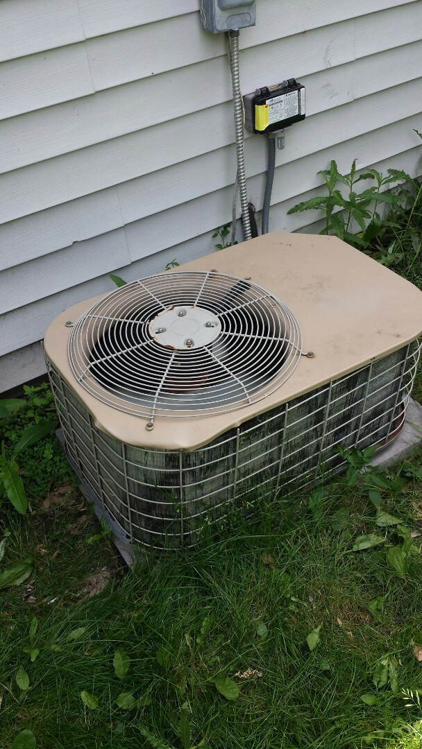 Brooklyn Park, MN - Cooling service. Replaced a motor booster on a Coleman Evcon air conditioner.
