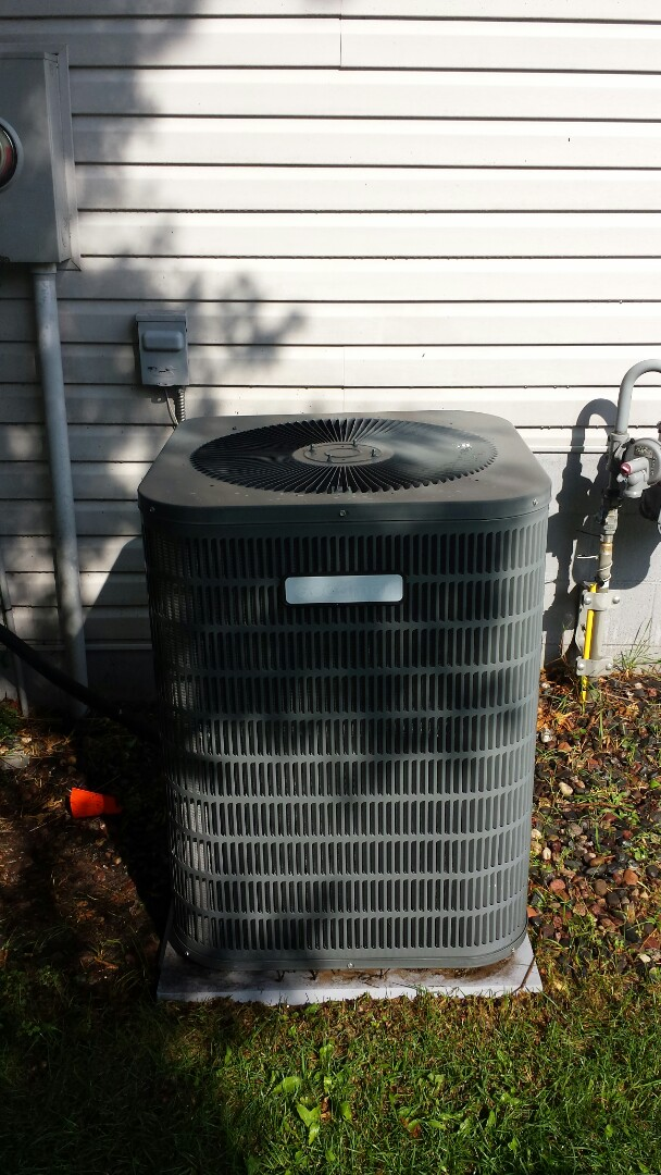 Zimmerman, MN - Air conditioner service. Performed a minor wiring repaint on a NEST thermostat. Also performed a cleaning and tune up on a Goodman air conditioner.