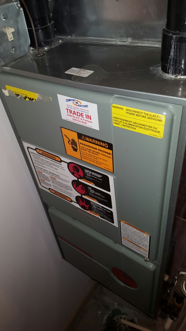 Becker, MN - Furnace maintenance. Performed a cleaning and tune up on a Rheem furnace and on a Trane humidifier.