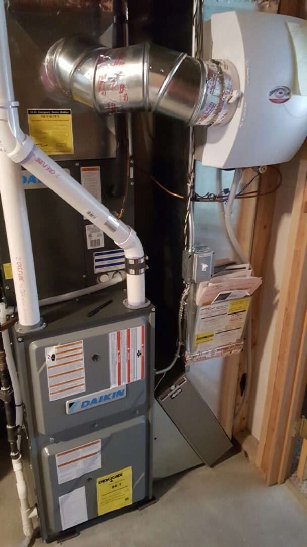 Medina, MN - Furnace service. Replaced a High temperature safety limit on a Daikin furnace.