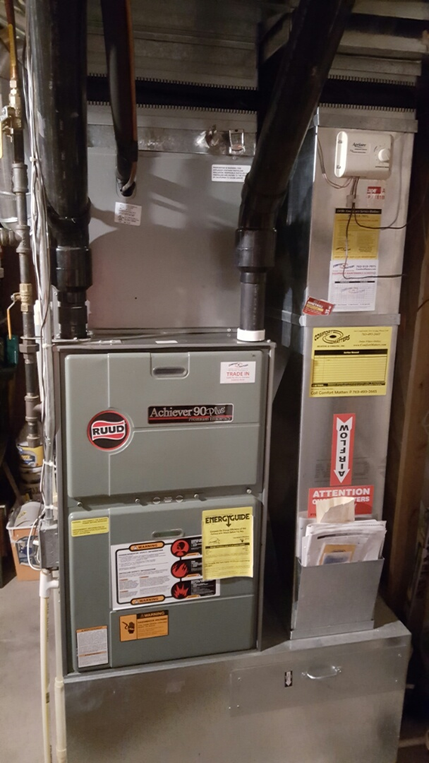 Medina, MN - Heating service. Performed a cleaning and tune up on a Ruud furnace and A/C. Also replaced a flame sensor.