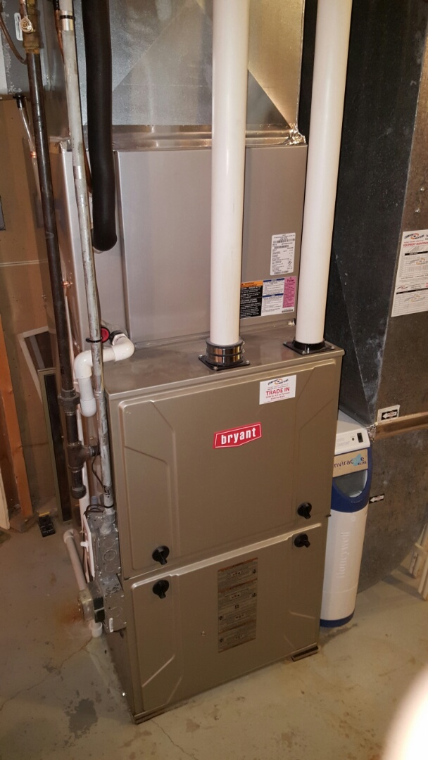 Orono, MN - Heating service. Cleared an obstruction from the furnace exhaust venting on a Bryant furnace. Also replaced a Honeywell media filter.