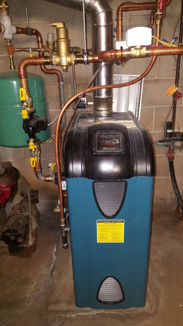 Minnetonka, MN - Boiler maintenance. Performed a cleaning and tune up on a Burnham boiler.