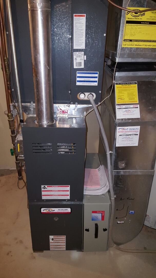 Independence, MN - Heating service. Replaced a flame safety sensor under manufacturer part warranty on a Comfort Matters furnace.