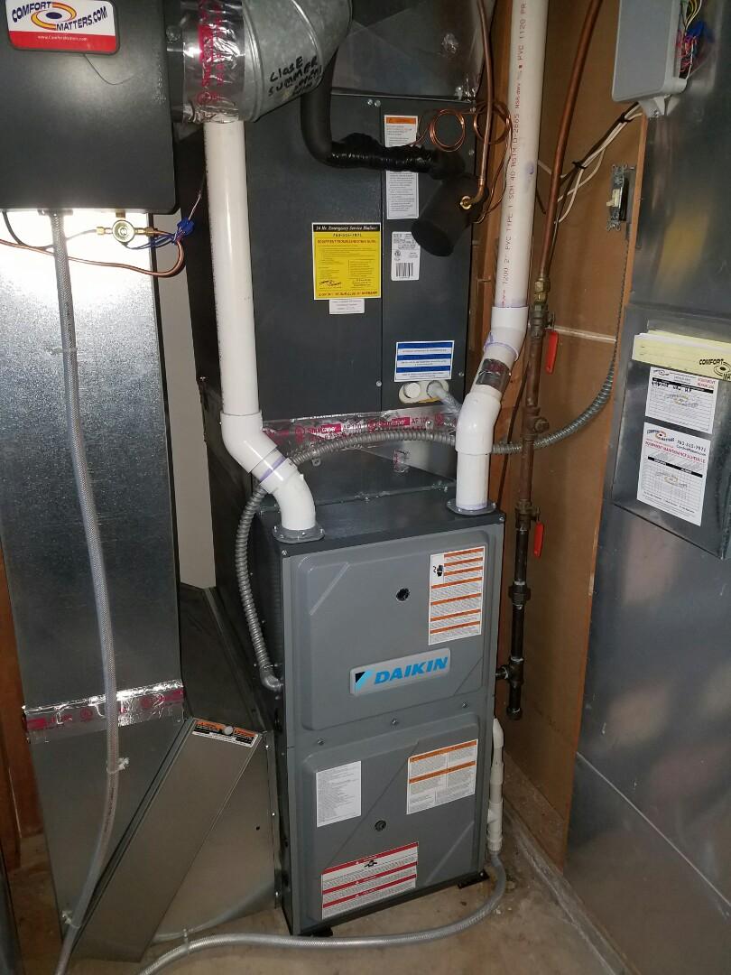 Corcoran, MN - New Daikin 90% efficient furnace install
