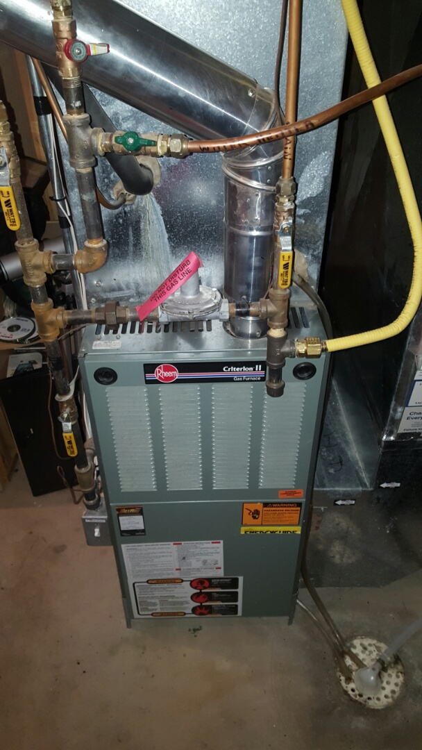 Big Lake, MN - Heating service. Replaced a flame safety sensor and hot surface igniter on a Rheem furnace. Also performed a cleaning and tune up.