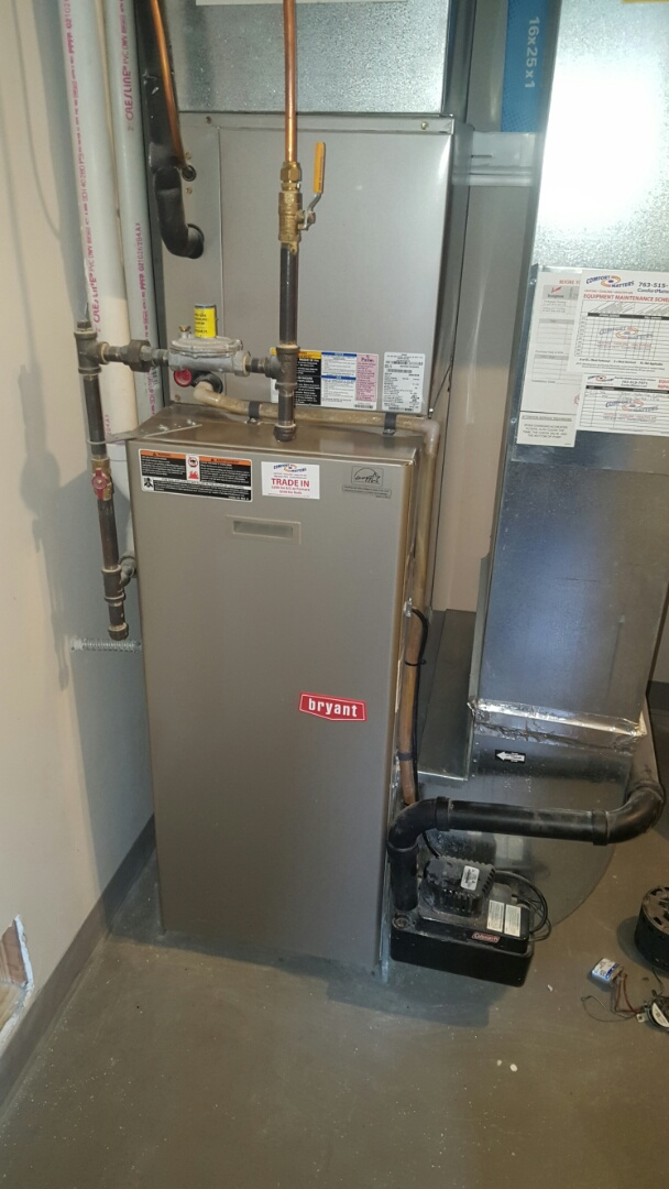 Montrose, MN - Heating service. Installed a press switch on a Bryant furnace.