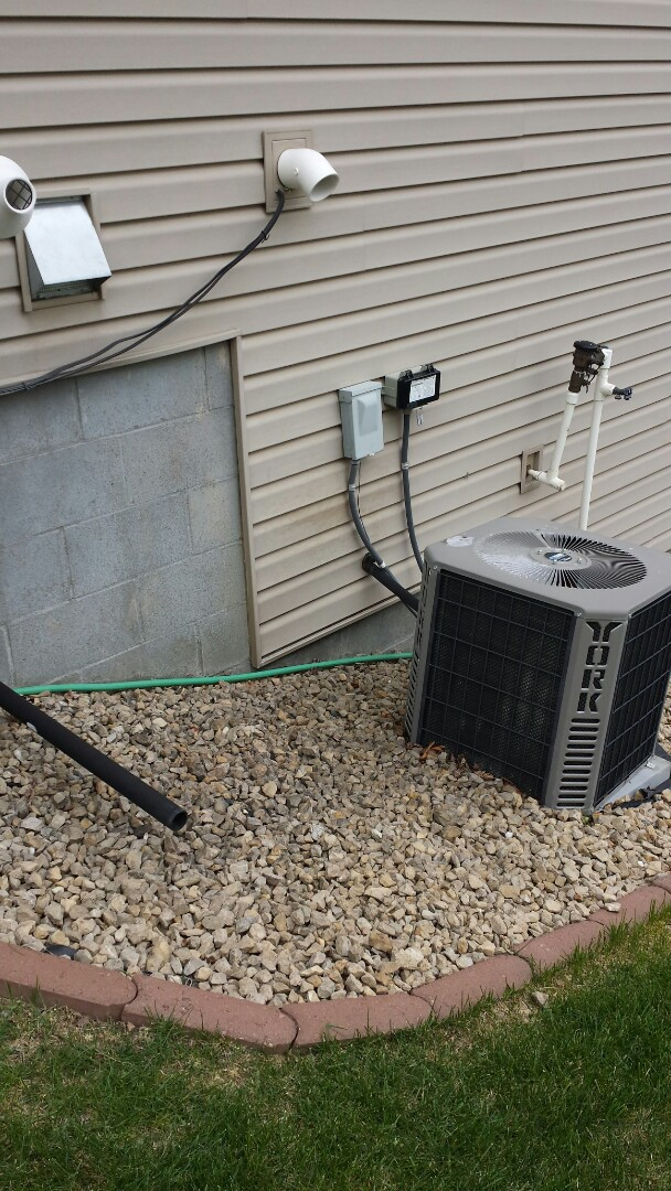 Hanover, MN - No hot water. Found bird in exhaust flue. Performed York cooling system tune up and maintenance
