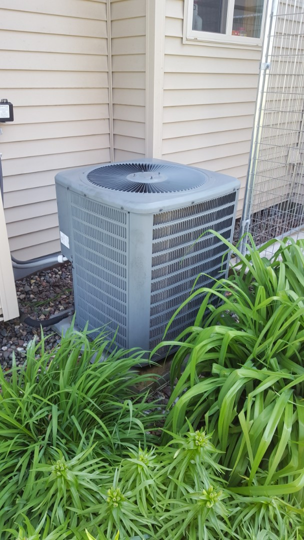 Rockford, MN - Air conditioner service. Installed Easy Seal a.c. leak sealant, locking refrigerant caps and R-22 refrigerant on Goodman A/C. Also performed an air conditioner cleaning and tune up.