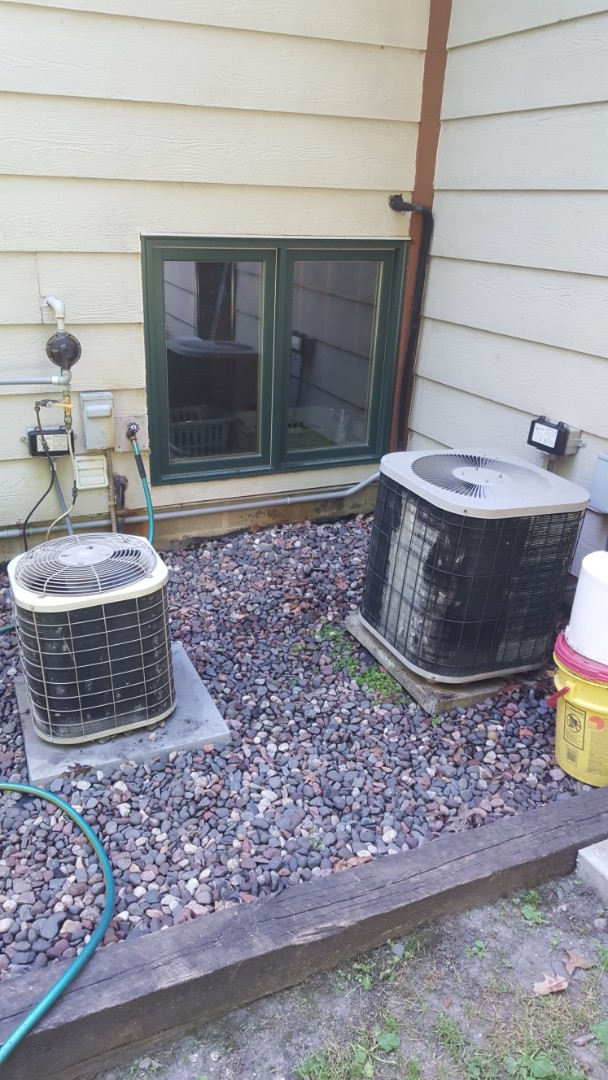 Rogers, MN - Air conditioner service. Installed AC leak sealant, locking refrigerant caps, and R22 refrigerant on a Bryant A/C. Also performed a cleaning and tune up on a Goodman air conditioner and Bryant air conditioner.
