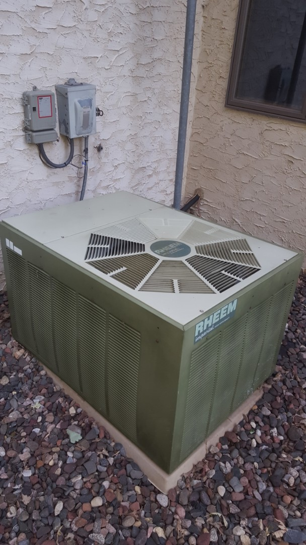 Excelsior, MN - A/C service. Installed a capacitor and wiring on a Rheem air conditioner.