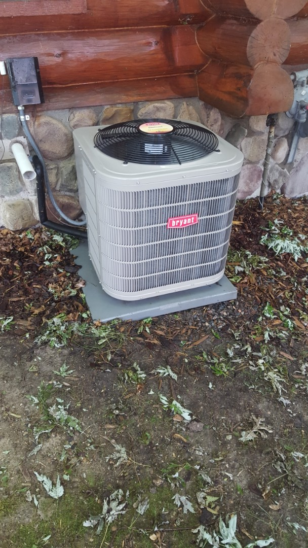 Saint Michael, MN - Air conditioner service. Performed a cleaning and tune up on a Bryant A/C. Also replaced a Honeywell media filter.
