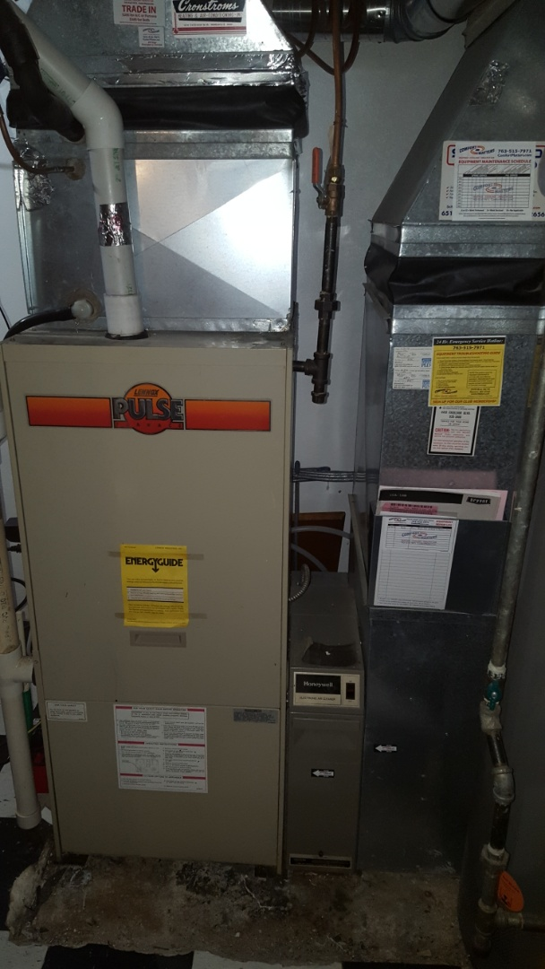Minneapolis, MN - Furnace service. Performed a real estate inspection and a heat exchanger pressure test on a Lennox Pulse furnace.