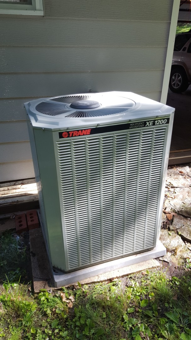 Plymouth, MN - Air conditioner maintenance. Performed a cleaning and tune up on a Trane AC.
