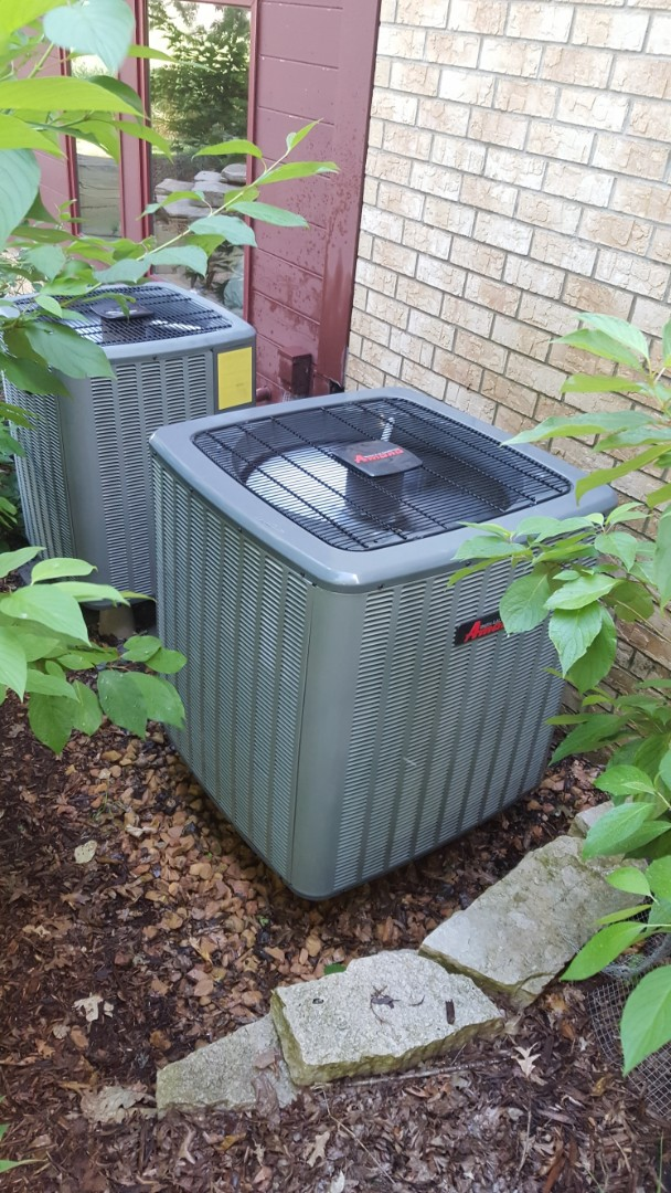 "Independence, MN - Air conditioning maintenance. Performed a cleaning and tune up on two Amana heat pumps. Also installed two Honeywell 4"" media filters and a Broan push button controller."